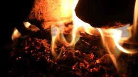 Ciérrese para arriba de las ascuas y de las llamas ardientes de la chimenea metrajes