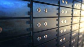 Ciérrese para arriba de las cajas de depósito seguro en un cuarto de la cámara acorazada de banco, lazo inconsútil metrajes