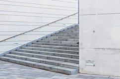 Ciérrese para arriba de las escaleras urbanas de la ciudad con la verja Imagenes de archivo