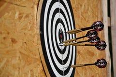 Ciérrese para arriba de las flechas de los dardos que son pegadas en el tablero de la blanco Imagen de archivo