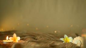Ciérrese para arriba de las flores tropicales para la decoración casera La vida de Slill, las luces de la vela y el frangipani de almacen de video
