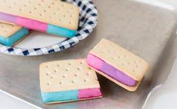 Ciérrese para arriba de las galletas del helado con helado coloreado imagenes de archivo