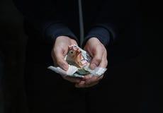 Ciérrese para arriba de las manos del adicto con las drogas y el dinero Imagen de archivo libre de regalías