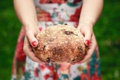 Ciérrese para arriba de las manos que sostienen el pan rústico Foto de archivo libre de regalías