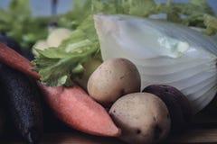 Ciérrese para arriba de las verduras frescas para la sopa Foto de archivo libre de regalías