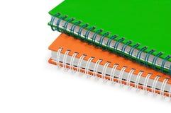 Ciérrese para arriba de los cuadernos del twol Fotografía de archivo