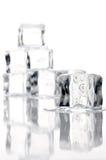 Ciérrese para arriba de los cubos de hielo de fusión Imagen de archivo