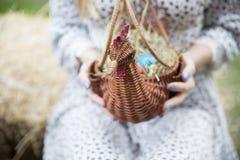 Ciérrese para arriba de los huevos de Pascua coloridos en una cesta Imagen de archivo