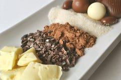 Ciérrese para arriba de los ingredientes crudos para hacer el chocolate Fotografía de archivo libre de regalías