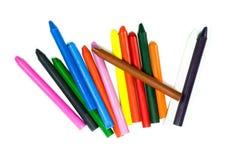 Ciérrese para arriba de los lápices multicolores del creyón Fotografía de archivo libre de regalías