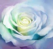 Ciérrese para arriba de los pétalos color de rosa blancos Flor de la pintura al óleo