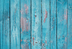 Ciérrese para arriba de los paneles de madera azules de la cerca Imágenes de archivo libres de regalías