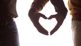 Ciérrese para arriba de los pares gay masculinos que hacen el corazón de la mano almacen de metraje de vídeo