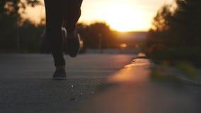 Ciérrese para arriba de los pies femeninos de las piernas que corren en el parque durante puesta del sol hermosa Ejercicio de con metrajes