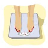 Ciérrese para arriba de los pies femeninos que se colocan en escala del peso Concepto de pérdida de peso, formas de vida sanas, d ilustración del vector