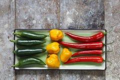 Ciérrese para arriba de los pimientos picantes rojos, verdes y amarillos dispuestos en la bandeja rectangular Imagen de archivo libre de regalías