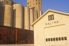 Ciérrese para arriba de los silos de grano, salina, KS Imagen de archivo libre de regalías