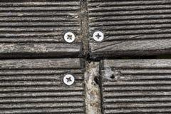 Ciérrese para arriba de los tornillos de madera del embarcadero tablero de madera para el paseo Foto de archivo
