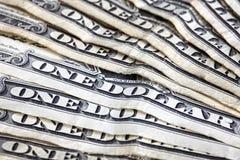 Ciérrese para arriba de los viejos uno billetes de dólar, profundidad del campo baja Fotos de archivo
