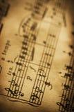 Ciérrese para arriba de música de hoja Fotos de archivo