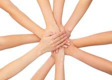 Ciérrese para arriba de manos en el top Imagen de archivo libre de regalías