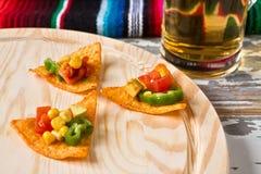 Ciérrese para arriba de microprocesadores de los nachos con las verduras y la cerveza Foto de archivo
