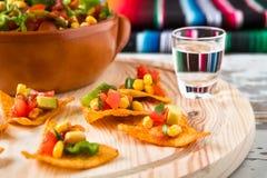 Ciérrese para arriba de microprocesadores y de tequila de los nachos Fotos de archivo libres de regalías