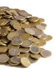 Ciérrese para arriba de montón de las monedas de los euros Imagen de archivo