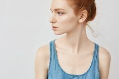 Ciérrese para arriba de muchacha del pelirrojo en la camisa azul que mira en perfil Fotos de archivo