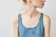 Ciérrese para arriba de muchacha del pelirrojo en la camisa azul que mira en perfil Imagen de archivo libre de regalías