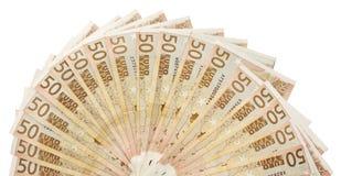 Ciérrese para arriba de muchos 50 billetes de banco euro avivados a un semi-círculo Imágenes de archivo libres de regalías