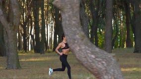 Ciérrese para arriba de mujer con los auriculares que corren a través de un bosque del otoño en la puesta del sol Cámara lenta almacen de video