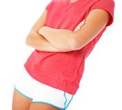 Ciérrese para arriba de mujer joven de la aptitud en la camisa roja Isola Fotografía de archivo