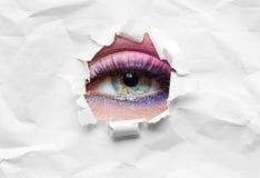 Ciérrese para arriba de ojo femenino en la cuerda Fotografía de archivo