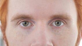 Ciérrese para arriba de ojos del hombre casual del pelirrojo metrajes