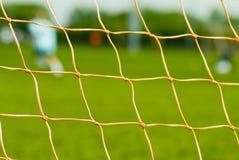 Ciérrese para arriba de red del fútbol Imagen de archivo