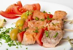 Ciérrese para arriba de salmones asados a la parilla Imagen de archivo libre de regalías