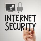 Ciérrese para arriba de seguridad de Internet del dibujo de la mano en línea Fotos de archivo libres de regalías
