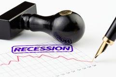 Ciérrese para arriba de sello y de gráfico de la recesión Foto de archivo