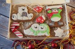 Ciérrese para arriba de sistema del pan de jengibre de la Navidad Diversas figuras coloridas de la galleta en caja Visión superio Imagen de archivo