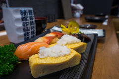 Ciérrese para arriba de sistema del sushi del sashimi Imagen de archivo libre de regalías