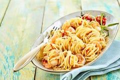 Ciérrese para arriba de spagetti delicioso Fotos de archivo