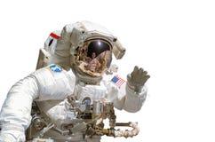 Ciérrese para arriba de un astronauta aislado en el fondo blanco fotos de archivo