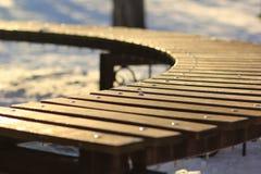 Ciérrese para arriba de un banco de madera Imágenes de archivo libres de regalías