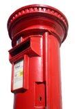 Ciérrese para arriba de un buzón de correos rojo. Fotos de archivo