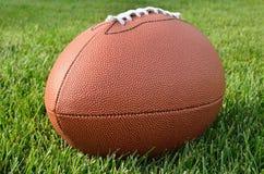 Ciérrese para arriba de un fútbol americano en campo de hierba Foto de archivo
