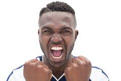Ciérrese para arriba de un grito del futbolista Foto de archivo