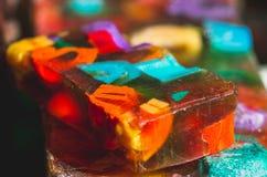 Ciérrese para arriba de un jabón hecho a mano multicolor imágenes de archivo libres de regalías