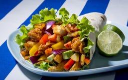 Ciérrese para arriba de un kebab con el pollo Foto de archivo libre de regalías