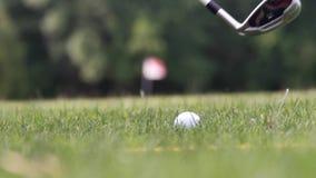 Ciérrese para arriba de un momento en que bola hitted por una cuña en la echada verde del golf en una hierba de levantamiento sol almacen de video